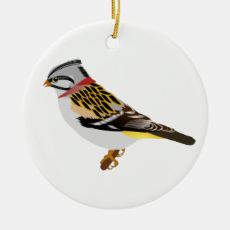Colorful cartoon yellow and brown sparrow ceramic ornament
