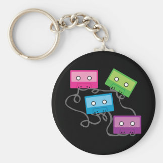 Colorful Cassette Tapes Basic Round Button Keychain