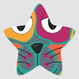 Colorful cat 2 star sticker