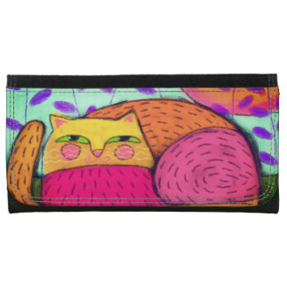 Colorful Cat Abstract Art Wallet