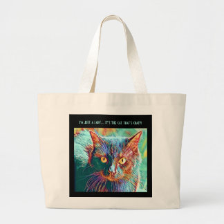 Colorful Cat Art tote for Crazy Cat Lady (black)