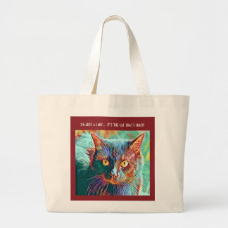 Colorful Cat Art tote for Crazy Cat Lady (rust)