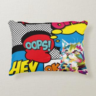 Colorful Cat Comic Hope Iconic Pop Art Decorative Pillow