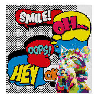 Colorful Cat Comic Hope Iconic Pop Art Poster