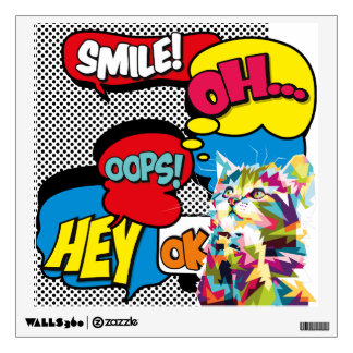 Colorful Cat Comic Hope Iconic Pop Art Wall Decal