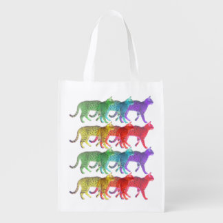 Colorful Cat Crowd Reusable Grocery Bag
