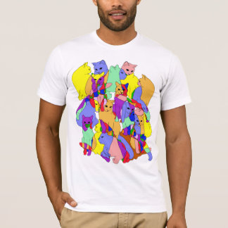 Colorful Cat Pattern T-Shirt