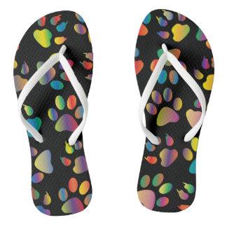 Colorful Cat Paw Print Flip Flops