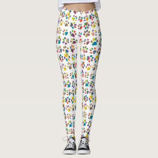 Colorful Cat Paws & Claws Print Leggings