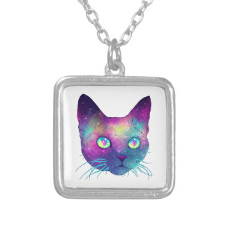 Colorful cat silver plated necklace