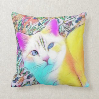 Colorful Cat Throw Pillow