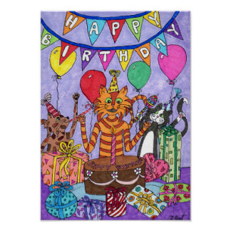 Colorful Cats Birthday Party Folk Art Poster