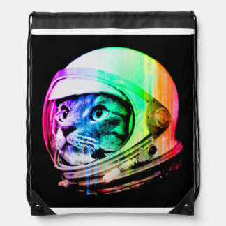 colorful cats - Cat astronaut - space cat Drawstring Bag