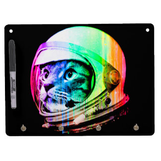 colorful cats - Cat astronaut - space cat Dry Erase Board With Keychain Holder