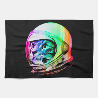 colorful cats - Cat astronaut - space cat Kitchen Towel