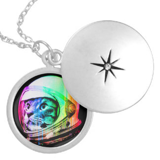 colorful cats - Cat astronaut - space cat Locket Necklace