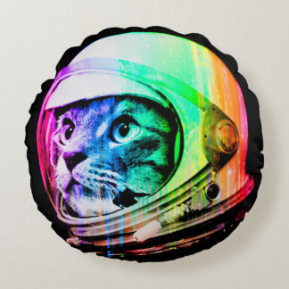 colorful cats - Cat astronaut - space cat Round Pillow