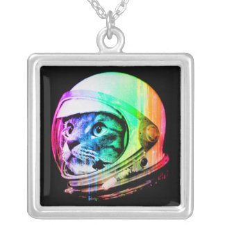 colorful cats - Cat astronaut - space cat Silver Plated Necklace