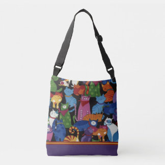 Colorful Cats Cross Body Tote Bag