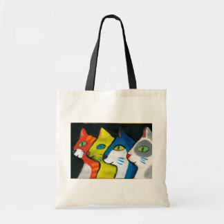 colorful cats drawn in profile budget tote bag