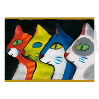 colorful cats drawn in profile greeting card