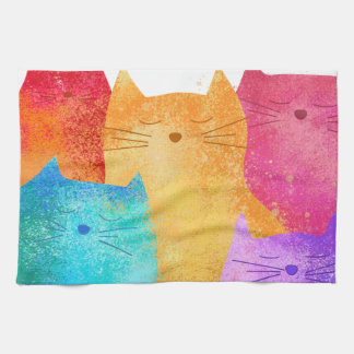 colorful cats kitchen towel