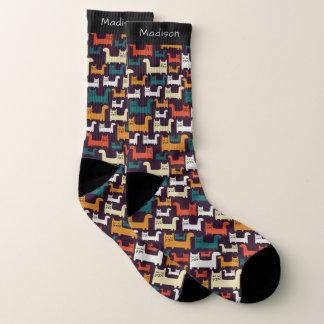 Colorful Cats Pattern custom name socks