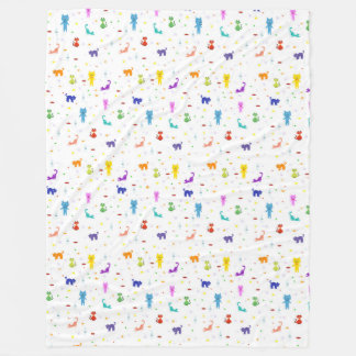 Colorful cats pattern happy funny texture fleece blanket