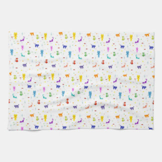 Colorful cats pattern happy funny texture kitchen towel