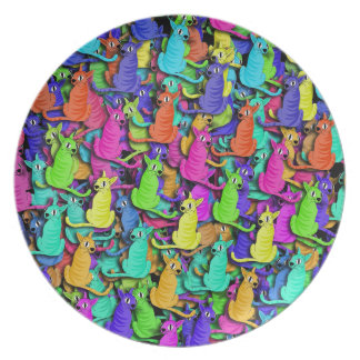 Colorful cats plates