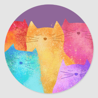 colorful cats round sticker
