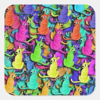 Colorful cats square sticker