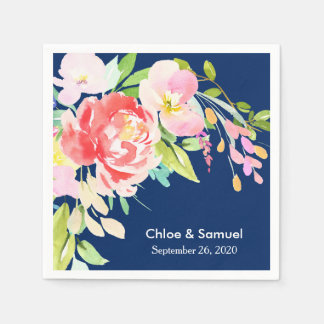 Colorful Cattails and Floral Wedding Disposable Napkin