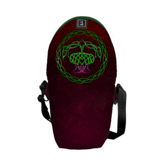 Colorful Celtic Knot Thistle Courier Bags
