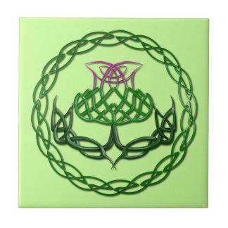 Colorful Celtic Knot Thistle Tile