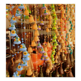 Colorful Ceramic Wind Chimes at a Market Poster