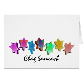 Colorful Chag Sameach 3D Stars Card