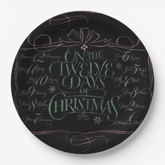 Colorful Chalkboard Christmas Calligraphy Chalk Paper Plate
