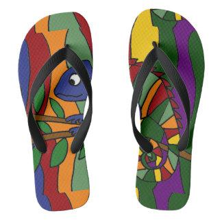 Colorful Chameleon Abstract Art Flip Flops