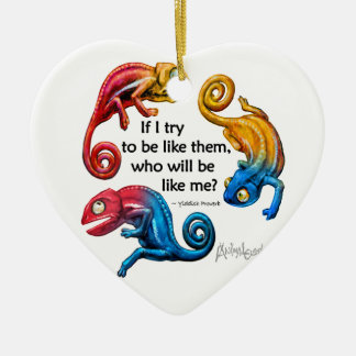 Colorful Chameleon Character & Quote Ornament