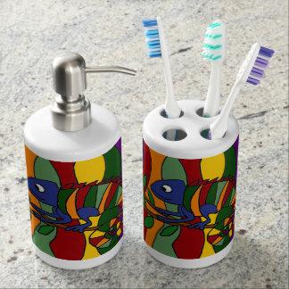 Colorful Chameleons Art Bath Set