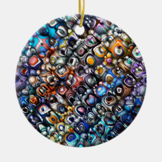 Colorful Chaotic Contours Ceramic Ornament