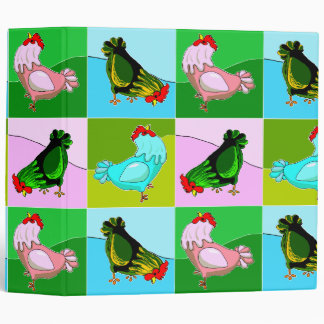 Colorful Chatty Chickens Vinyl Binder