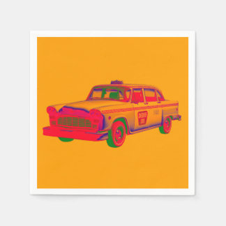 Colorful Checkered Taxi Cab Pop Art Paper Napkin