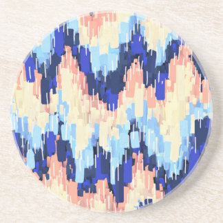 Colorful Chevron Abstract Painting in Blue Coaster