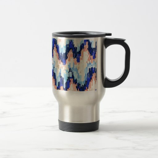 Colorful Chevron Abstract Painting in Blue Coffee Mug