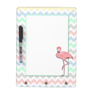 Colorful Chevron and Flamingo Dry Erase Board
