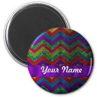 Colorful chevron damask pattern 2 inch round magnet