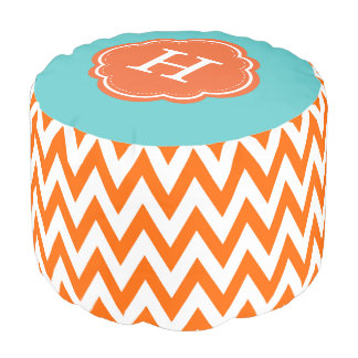 Colorful Chevron Monogram Pouf