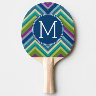 Colorful Chevron Pattern Custom Monogram Ping Pong Paddle